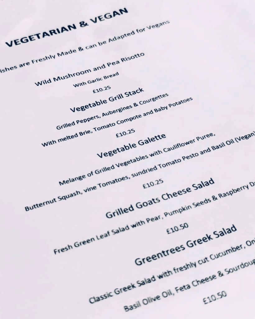 Vegetarian food at The New Greentrees Aberdeen