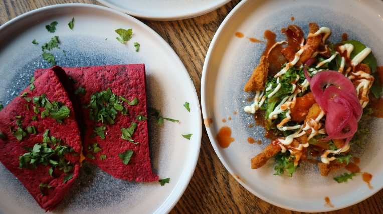 Two items from the new sharer plates menu at the Bobbin Aberdeen, feta quesadilla and  calamari